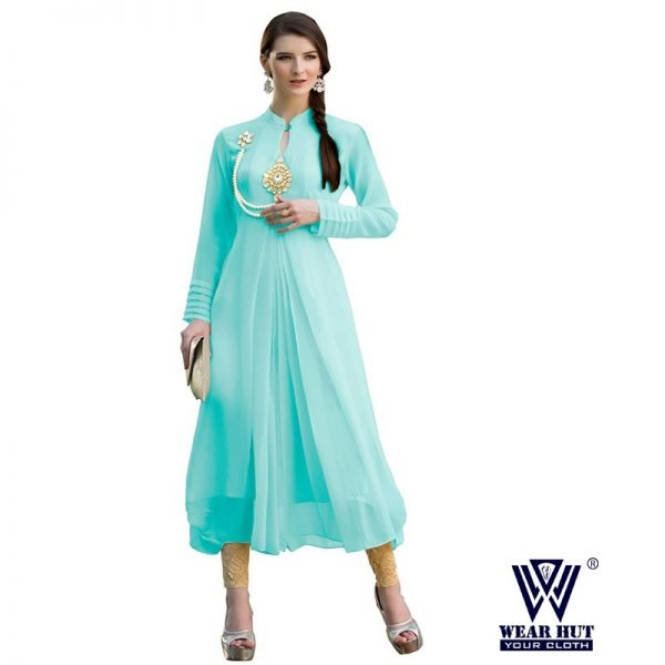 New design of Lite blue color kurti