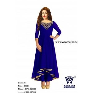 New design of blue and golden color ambroidery long kurti