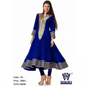 Blue and gulden color embroidery kurtis collection