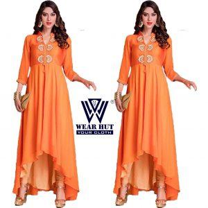 Orange Color Long Kurti (Woman's Kurti Fashion -2016)