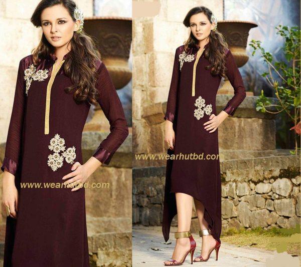 Dark - Broun Kurti - embroidery kurti for Women's
