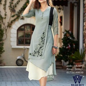 Maroon color kurti for women - embroidery design