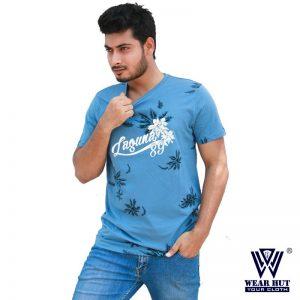 Light Blue Print t-shirt T-shirt for mens