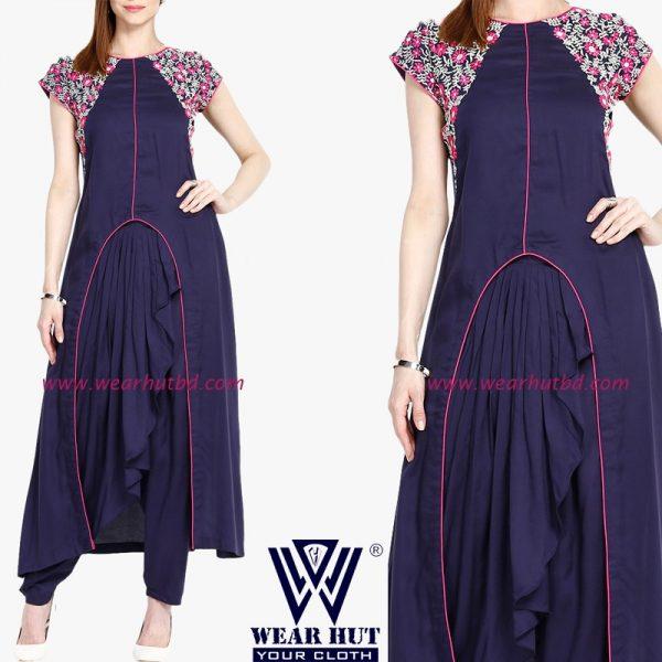 New latest deep blue embroidery kurti Bangladesh fashion