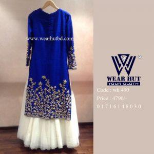 Embroidery light blue designs Kurtis women's dress