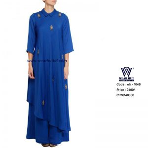 blue embroidery long dress or long kurtis and Palazzo