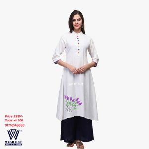 White kurtis Long Sleeve dress or Long palazzo