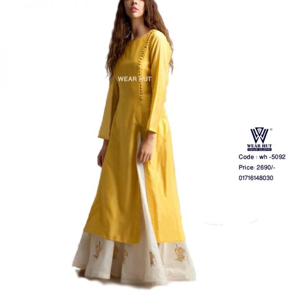Yellow Kurti Long Kamiz or Long Ghagra Skirt