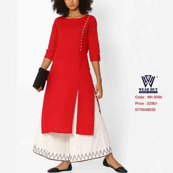 Red Kurti Long Kamiz or Long Ghagra Skirt