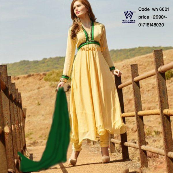 Yellow green combination Full sleeve Antique three piece