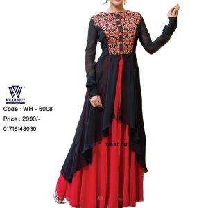 Embroidery red & black stylish long kurtis of wear hut