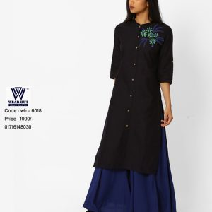 Black Embroidery Dress with Blue Palazzo 2017