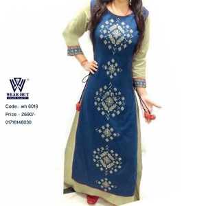 B'dazzled Blue & Lite Olive Combination Long Dress and Palazzo Wear Hut