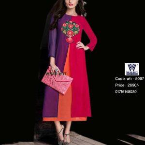 Red Purple Orange Combination Embroidery Long Kurti Style Dress Wear Hut