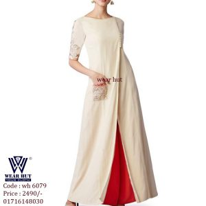 Best womens embroidery design dress of wood color in online bangladesh
