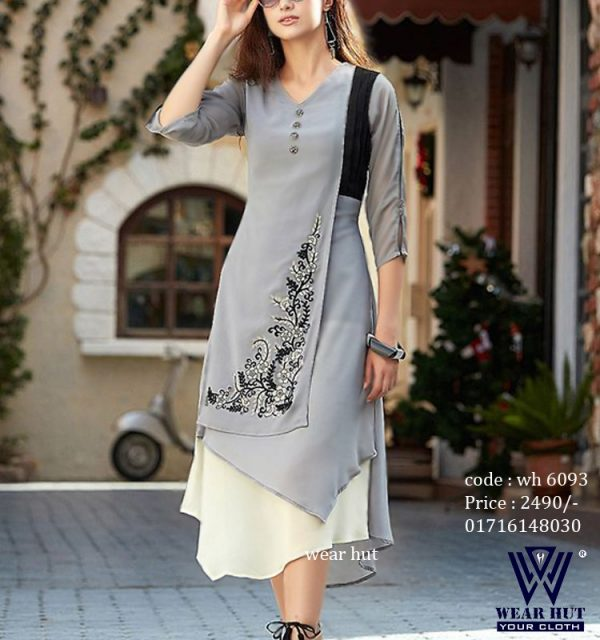 Best shopping in Bangladesh for Ash color stylist design dress