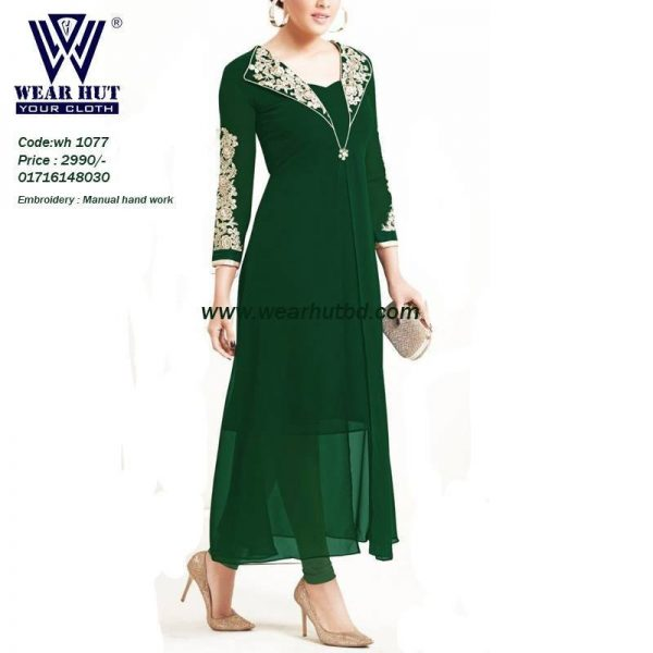 Green Georgette Long embroidery best dress of Bangladesh fashion