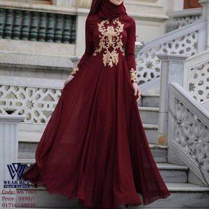 Best Women's meroon color long gown winter dress of online shopping