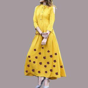 Letest Yellow Kurtis dress design in online shopping 2018 WEAR HUT