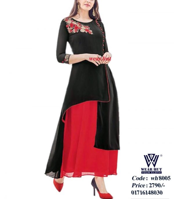 Red and black casual summer dress for women's Wear Hut