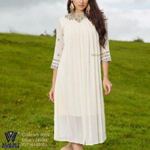White Georgette long kurti design embroidery wear hut online shopping in Dhaka bd