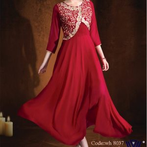 Red maroon Gown style color long kurti design of wear hut