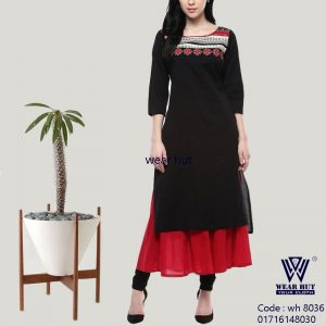 Two part red and black kurti design embroidery women's dress online shop bd