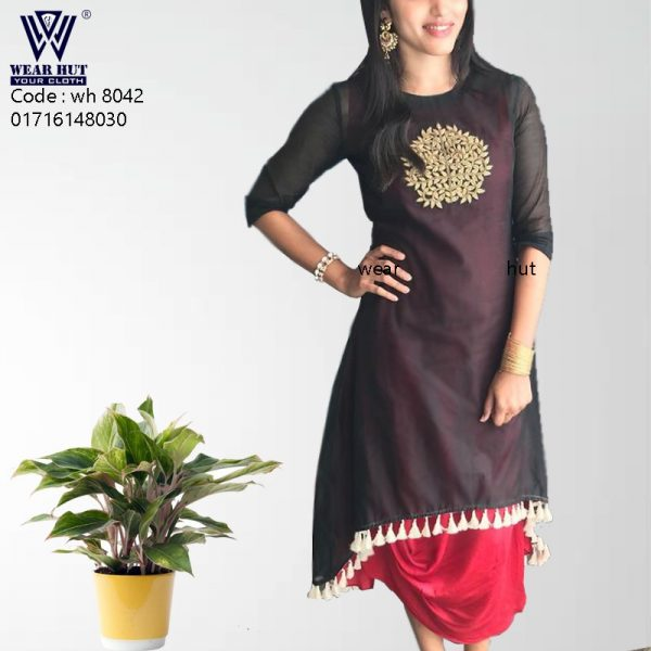 Back and pink stylist kurti design embroidery women's cloth wear hut bd online