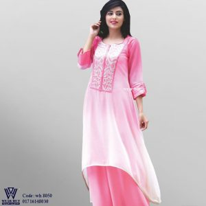 Pink color long embroidery kurti design for women's summer fashion