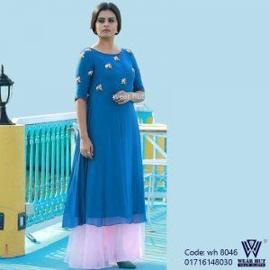Lite blue embroidery long kurti design & skirt for women's online shopping bd