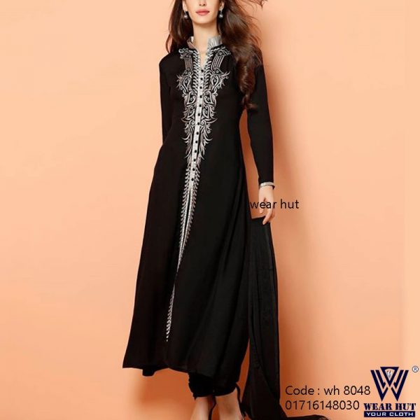 Black gorgeous long kurti design three piece for womens wear online bd