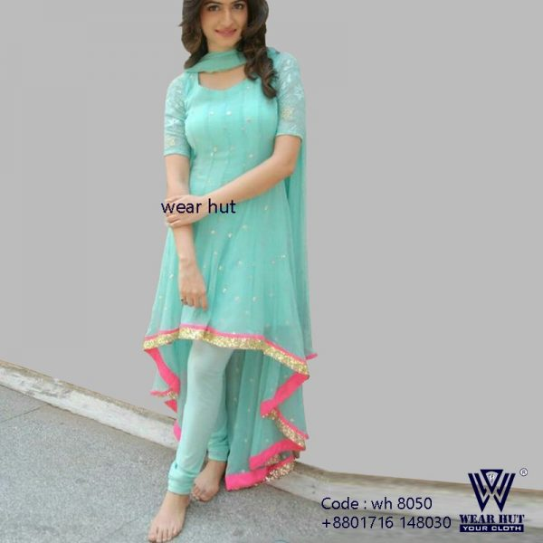 Sky blue long embroidery and stone work kurti design online shopping wear hut