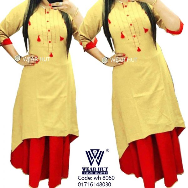 lite yellow color kurti and skirt wome's online shopping bd