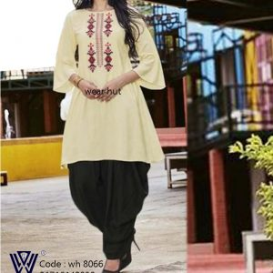 Lite yellow summer kurti design for women's wear online shopping dhaka Bangladesh