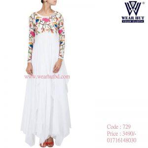 White summer long cut kurti design for women's online shopping bd