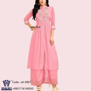 Lite pink color long embroidery kurti design womens clothing Bangladesh online