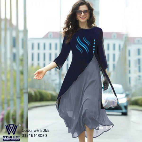 Navy blue & Ash casual two part kurti design women's online shopping bd wear hut