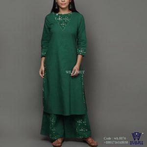 Green color long kameez design embroidery women's wear hut bd