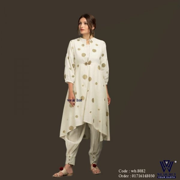 Off white casual woen's embroidery dresses online shoppinh kurti