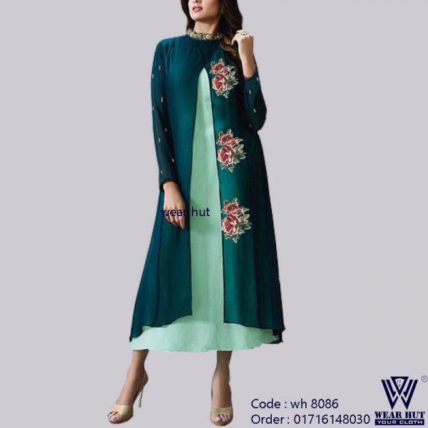 Koty style long embroidery women's kurti design dress of wear hut bd online shoop in Dhaka