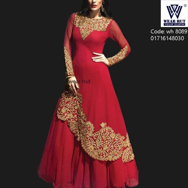 Red Embroidery lehenga gown design womens wear online shopping wear hut bd