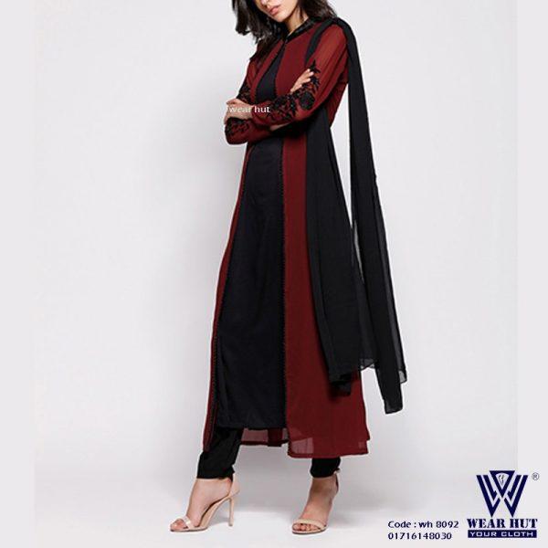 Black maroon color two part embroidery long koty style kurti womens cloth in Dhaka Bamgladesh