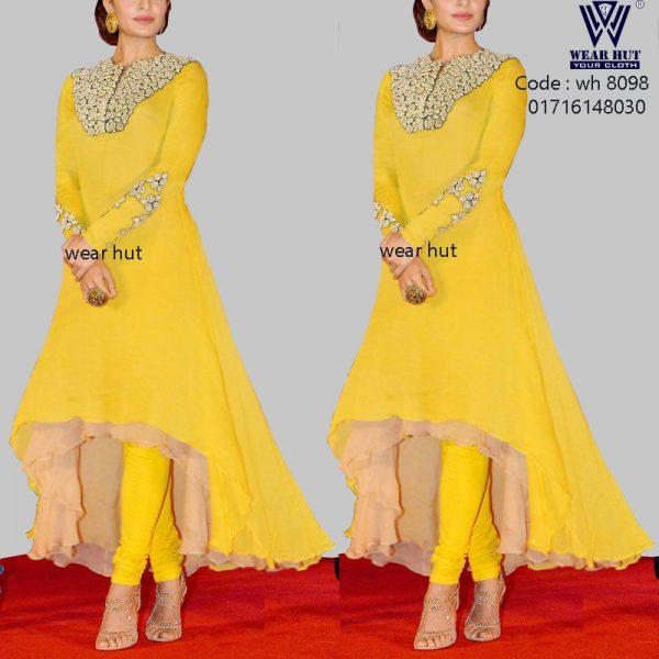 Yellow brown long embroidery tail cut kurti design womens wear /cloth online shopping bd