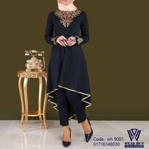 Hijab style embroidery black navy blue casual kurti design womens cloth wear Dhaka bangladesh