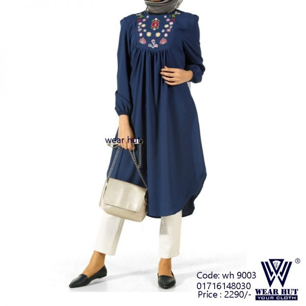 Casual blue color short embroidery womens dress online shopping wear BD