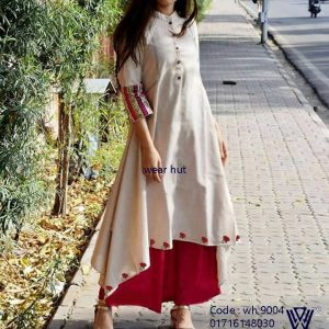 White red long embroidery dress women cloth in BD