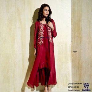 Red maroon silk embroidery kurchupi work Eid or wading women's wear dress/cloth online shopping in Dhaka Bangladesh