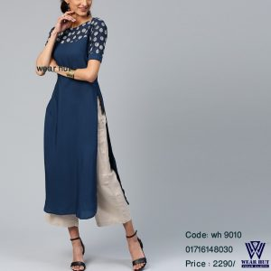 Navy blue embroidery short kurti design & off white pant online shopping