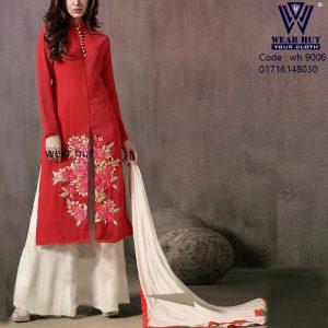 White Red embroidery Boishakhi women's dress wear online shopping bd