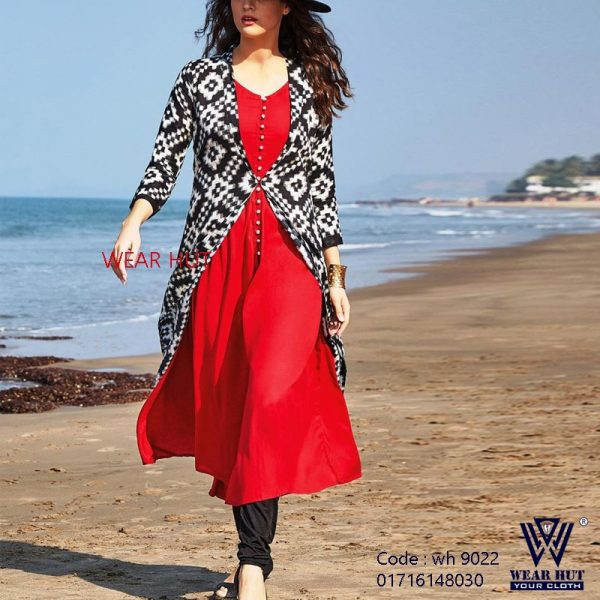 Red pink & white black casual long two part kurti design women's wear online shopping bd